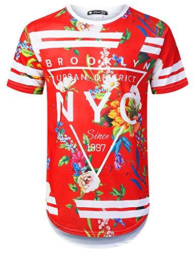 URBANTOPS Mens Hipster Hip Hop New York Floral Longline T-Shirt RED, L by URBANTOPS