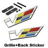 2pcs Sets AM70 V Racing Front Grille + Back Sticker Car Emblem Badge For Cadillac ATS CTS EXT SRX XTS XLR