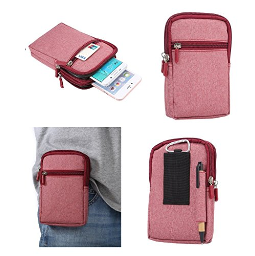DFV mobile - Universal Multi-Functional Vertical Stripes Pouch Bag Case Zipper Closing Carabiner for => Xolo Q1000 Opus > Red (17 x 10.5 cm)