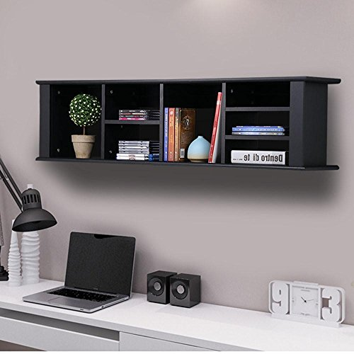 Yaheetech Wall Mounted Desk Hutch Floating Storage Hutch Black by Yaheetech