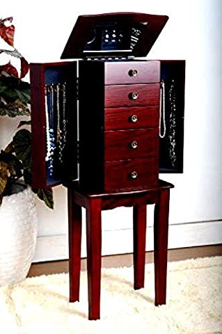 Armoire Jewelry Cabinet Box Storage Chest Stand Organizer Necklace Wood -Veneer - Thermos Bbq Grills