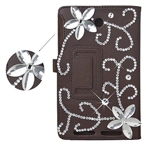 Spritech(TM) 3D Handmade Bling Diamond Design Ipad Case Slim-Fit Folio Stand PU Leather Smart Case Cover for ASUS MeMO Pad 7 ME176CX / ME176C Brown