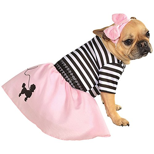[Fifties Girl Pink Poodle Skirt Dress and Headband Pet Doggy Costume] (Chic Costumes)