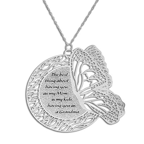 Caryn Rachel Designs Engraved Necklace Butterfly Necklace for Mom and Grandma Mothers Day Necklace | Unique and Original Jewelry for Mom Butterfly Gifts for Women | Mother Daughter Necklace Gift