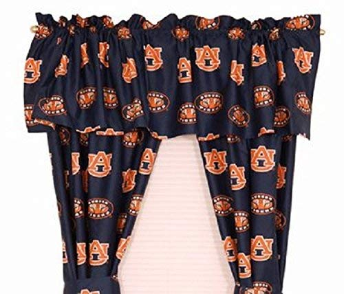 Tigers Ncaa Drapes - Auburn Tigers - (1) Printed Curtain Valance/Drape Set (Drape Length 63 Inches) to Decorate One Window - NCAA College Licensed Window Treatment