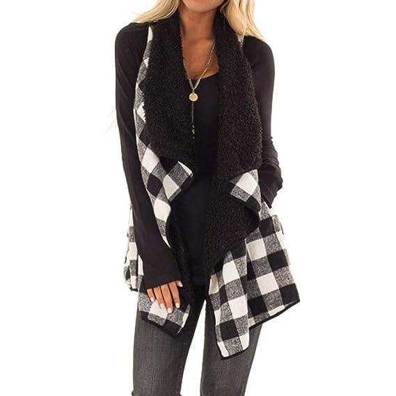 MEIbax Casual Moda Suéter Chaleco calentable para Mujer de Estampado de  Cuadros y Leopardo otoño Invierno Chaquetas Gilet Sin Mangas Cazadoras de  Punto ... aae7e6a921b7