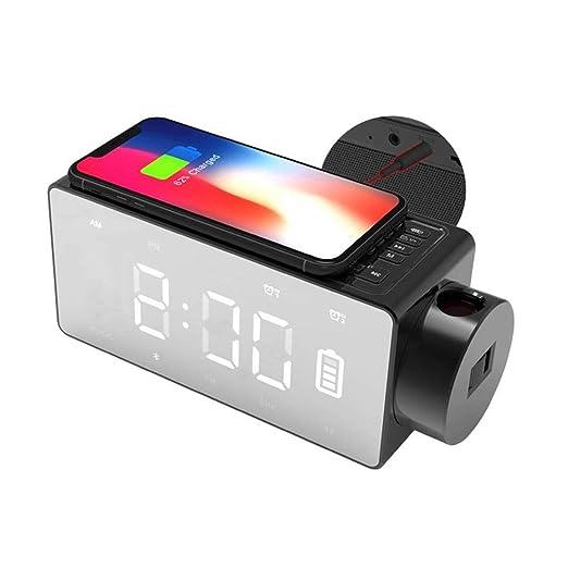 V.JUST Radio Reloj, proyector de Carga inalámbrica Reloj Digital ...