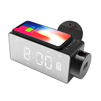 HLMF Radio Reloj, proyector de Carga inalámbrica Reloj Digital Bluetooth Altavoz, Reloj de Radio/Reloj Despertador Digital con Despertador FM DIY Alarma ...