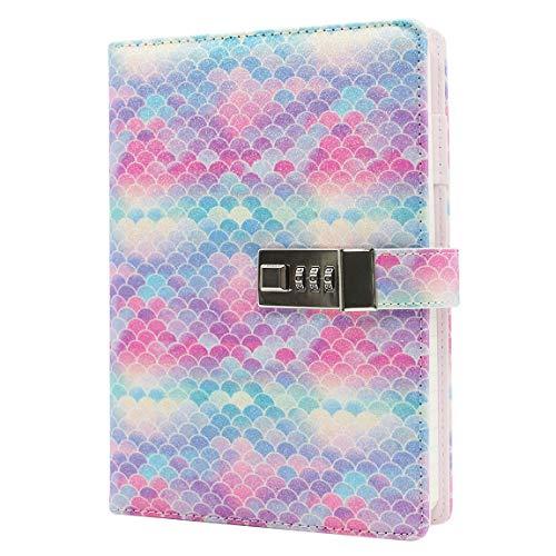 (A6 Glitter Sequin Locking Journal Digital Password Notebook Combination Lock Diary Retro Travel, 6.2