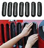 Latest Design Black Trim Grill Grille Cover Insert Mesh Frame for Jeep Wrangler JK & Unlimited 2007-2015 - 7 Pieces Kit (Mesh Grille)