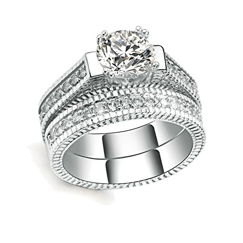 2pcs Womens Wedding Engagement Bands Ring Sets 18K White Gold Plated Princess Cut Eternity Solitaire CZ Crystal Best Anniversary Promise Rings