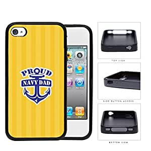 Proud Navy Dad with Blue Anchor and Yellow Stripes Background iPhone 4 4s Rubber Silicone TPU Cell Phone Case