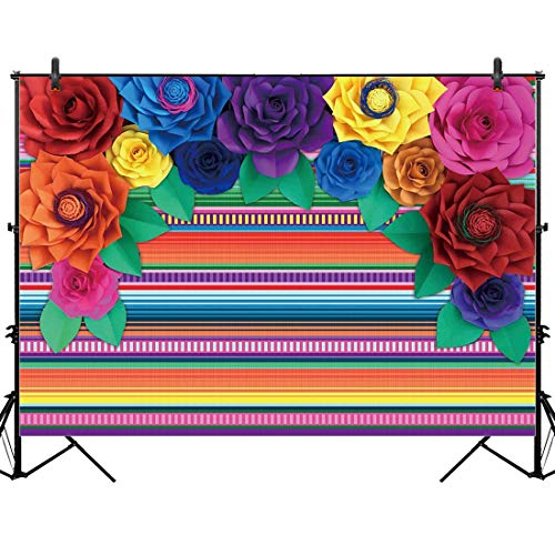 Allenjoy 7x5ft Mexican Fiesta Theme Backdrop for Photography Colorful Paper Flowers Decor Festival Birthday Party Decor Cinco De Mayo Carnival Banner Table Background Photo Studio Booth Props Supplies
