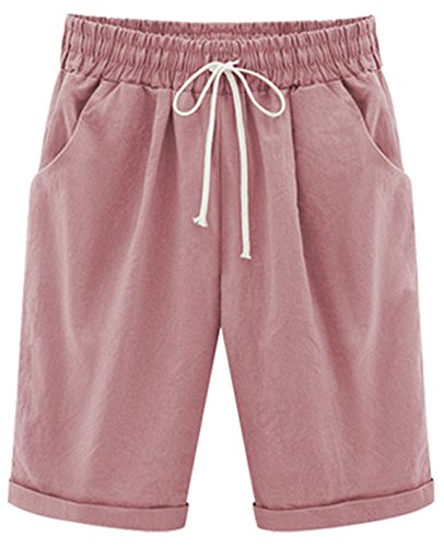 (HOW'ON Women's Casual Elastic Waist Knee-Length Curling Bermuda Shorts with Drawstring Pink XL)