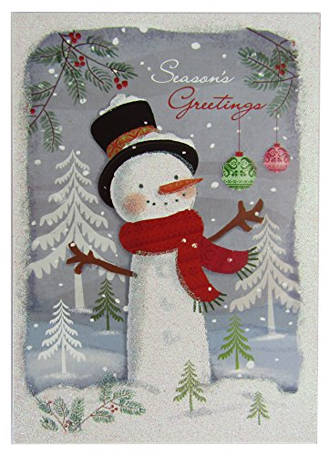 Holiday Greeting Cards - 12 Pack- Sparkling Winter Snowy Scene with Snowman - Glitter Accents (Scene Accent)