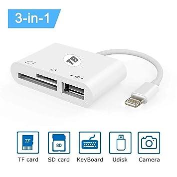 Lector de tarjetas SD, 3 en 1 Lightning a USB Kit de ...