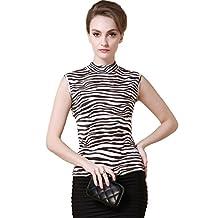 ForeverSilk Women's 100% Silk Knitted Mock Neck Sleeveless Camisole Tank
