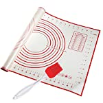 """STONEKAE Silicone Baking Mat, Thicker Non-Slip Board with Measurements for Rolling Dough, Fondant, Pie, Cookie.16""""x24"""" Large Non-Stick + Pastry Brush 6 COST EFFECTIVE AND HEALTHY» 100% food grade silicone, Don't worry about the food made on it will be harmful to the body.It is safe to use at a temperature of -45 degrees Fahrenheit to 450 degrees Fahrenheit and does not produce unpleasant chemical smell. DOUBLE THICKNESS,DURABLE AND LASTING» Thickness of the Silicone Pastry Mat is 0.075 inch and it's much thicker and durable. so it is very hard to crinkle and move as you roll out the dough.The mat is designed to be 16*24inch.It has a larger area to knead, make biscuits, make pizza and all related work. With a brush NON-STICK & EASY TO CLEAN» This mat is made of food grade silicone,so you will enjoy the best NON-STICK baking mat.No more scrubbing! Easy to wipe clean with warm soapy water and store it rolled in a drawer. Also dishwasher safe.When you don't use it, you can roll it up and store it."""