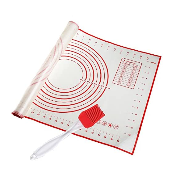 """STONEKAE Silicone Baking Mat, Thicker Non-Slip Board with Measurements for Rolling Dough, Fondant, Pie, Cookie.16""""x24"""" Large Non-Stick + Pastry Brush 1 COST EFFECTIVE AND HEALTHY» 100% food grade silicone, Don't worry about the food made on it will be harmful to the body.It is safe to use at a temperature of -45 degrees Fahrenheit to 450 degrees Fahrenheit and does not produce unpleasant chemical smell. DOUBLE THICKNESS,DURABLE AND LASTING» Thickness of the Silicone Pastry Mat is 0.075 inch and it's much thicker and durable. so it is very hard to crinkle and move as you roll out the dough.The mat is designed to be 16*24inch.It has a larger area to knead, make biscuits, make pizza and all related work. With a brush NON-STICK & EASY TO CLEAN» This mat is made of food grade silicone,so you will enjoy the best NON-STICK baking mat.No more scrubbing! Easy to wipe clean with warm soapy water and store it rolled in a drawer. Also dishwasher safe.When you don't use it, you can roll it up and store it."""