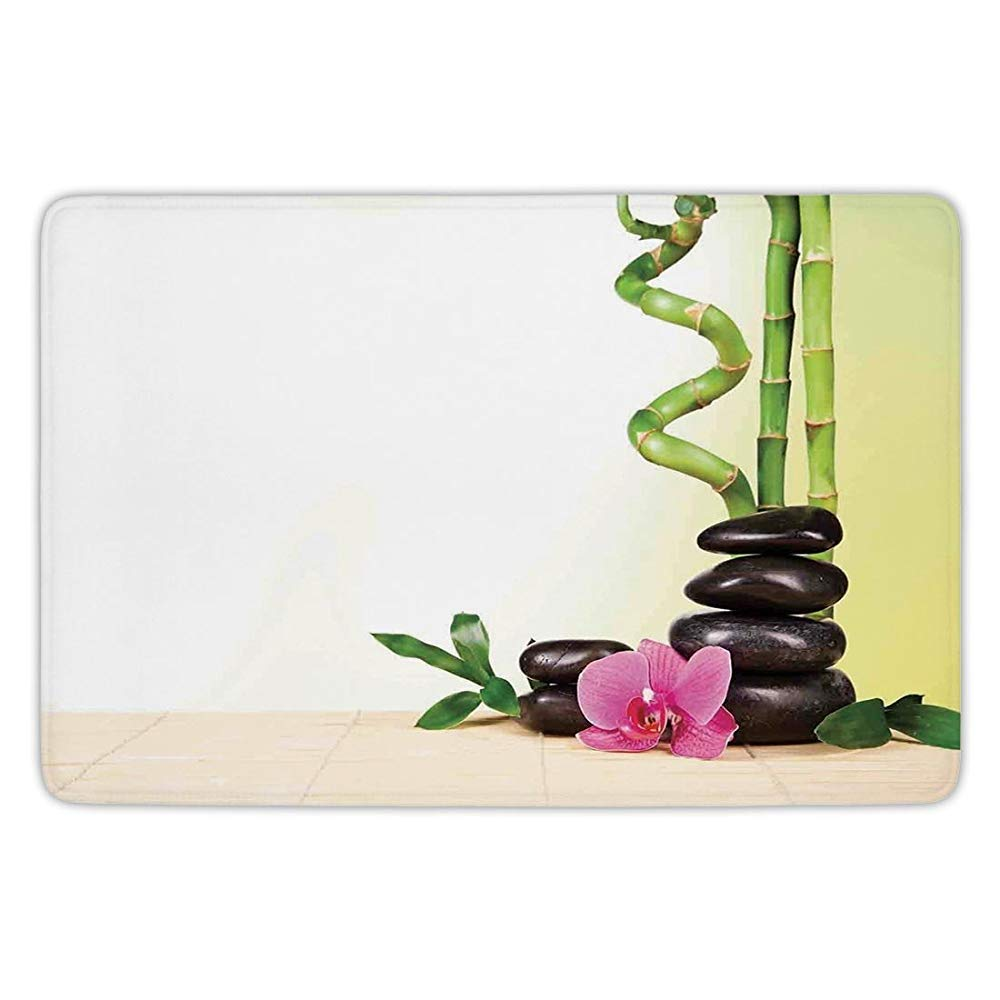 Bathroom Bath Rug Kitchen Floor Mat Carpet,Spa Decor,Spa Still Calm Life Theme with Relax Symbol Bamboo Sprouts and Rocks Asian Meditative Zen Concept,Multi,Flannel Microfiber Non-Slip Soft Absorbent