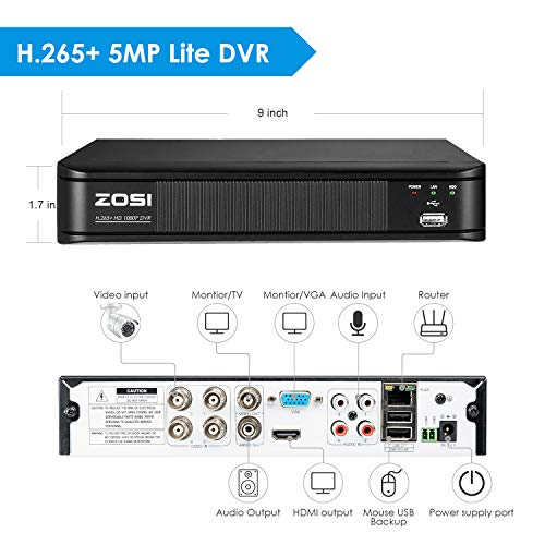 Analog//AHD//TVI//CVI Alert Push Hybrid Capability 4-in-1 Motion Detection Remote Access No Hard Drive ZOSI H.265+ 5MP Lite Security DVR 4 Channel Full 1080p CCTV DVR for Security Camera