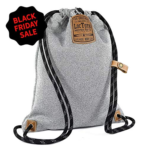 LOCTOTE Flak Sack II - World's Toughest Theft-Resistant Drawstring Backpack | Slash-Proof | Lockable | Portable Safe (Heather Grey)