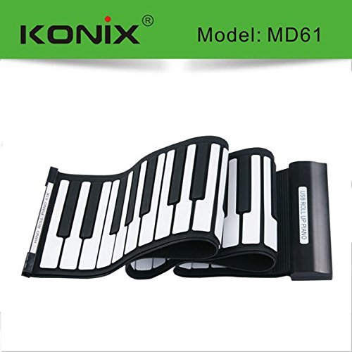 New KONIX USB 61 Key MIDI Flexible Silicone Electronic Roll Up Piano MD61 by Pink Lizard Products (Image #1)