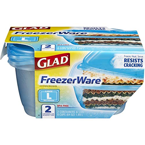 Glad Food Storage Containers - Glad FreezerWare Container - Large - 64 Ounce - 2 Containers