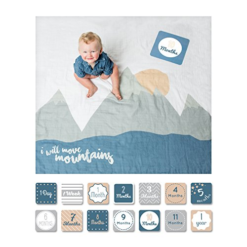 lulujo Baby First Year Milestone Blanket and Cards Set, I Will Move Mountains