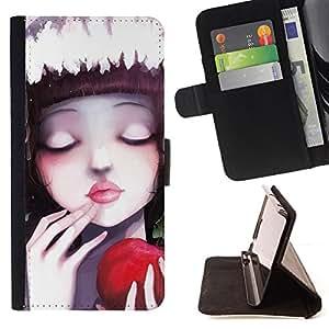 BullDog Case - FOR/HTC DESIRE 816 / - / Cute Apple Girl /- Monedero de cuero de la PU Llevar cubierta de la caja con el ID Credit Card Slots Flip funda de cuer