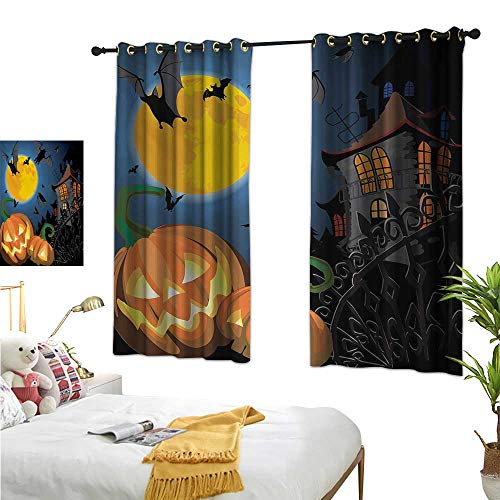 (WinfreyDecor Navy Blue Curtains Halloween,Gothic Halloween Haunted House Party Theme Design Trick or Treat for Kids Print,Multicolor 63