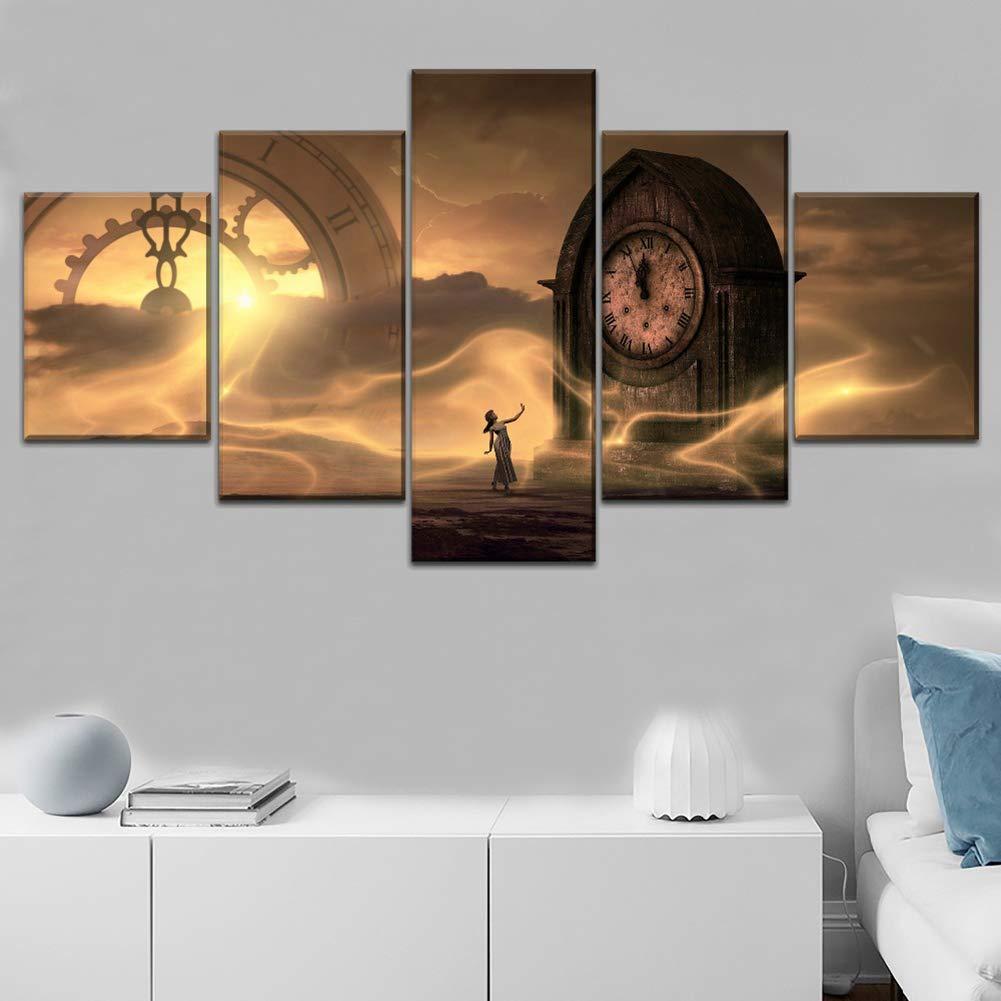 A 20X35X220X45X220X55X1 Modular Canvas Print 5 Piece Clock