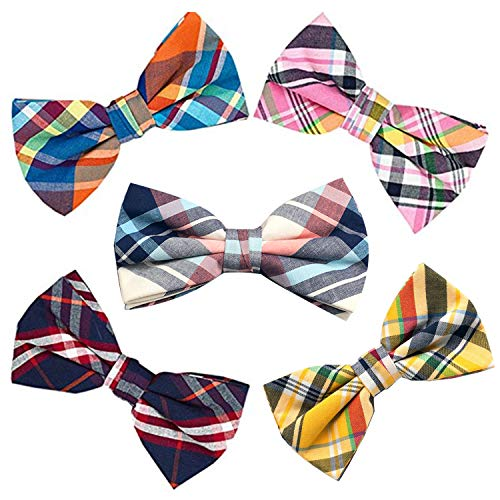 OUMUS 5 PACKS Elegant Adjustable Pre-tied Bow Ties or 1 Bowtie & Handkerchief Set Gift For Men Boys