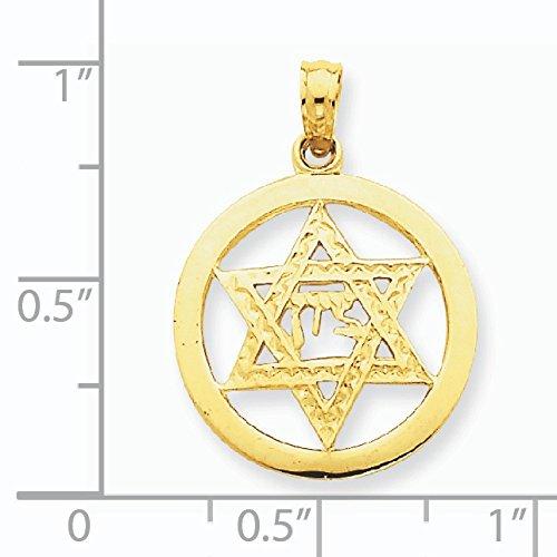 Juif Chi à 14 Carats Pendentif Etoile de David-Dimensions :  16 x 16 mm-JewelryWeb