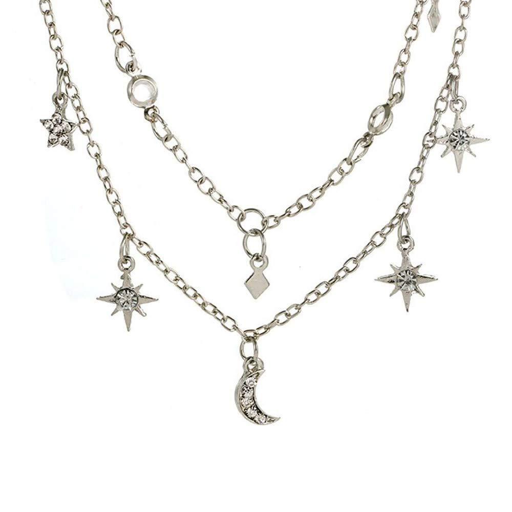 FEDULK Womens Heart Necklace Romantic Classic Retro Luxury Rhinestones Chain Necklace(Silver, One Size)