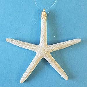 """2-4"""" Glitter White Finger Starfish Christmas Ornaments - Set of 4"""