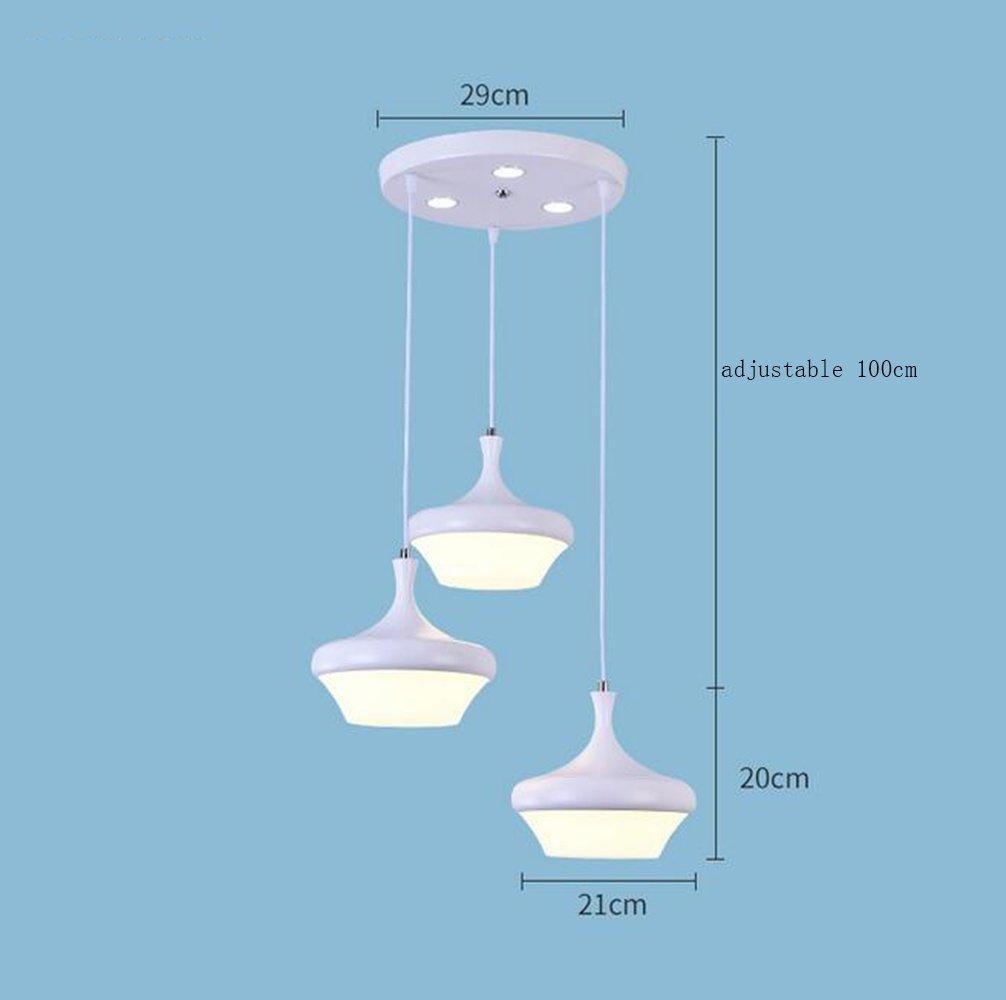 XUEXIN Modern iron chandelier restaurant lamp iron macarons bar Pendant Lights, A, warm light