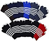 OPT Brand. 12 Pairs Wholesale Knit Stripe Touchscreen Touch Screen Gloves for Smartphones & Tablets (Assorted)