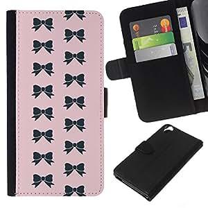 KLONGSHOP // Tirón de la caja Cartera de cuero con ranuras para tarjetas - arco patrón pajarita rosa moda negro - HTC Desire 820 //