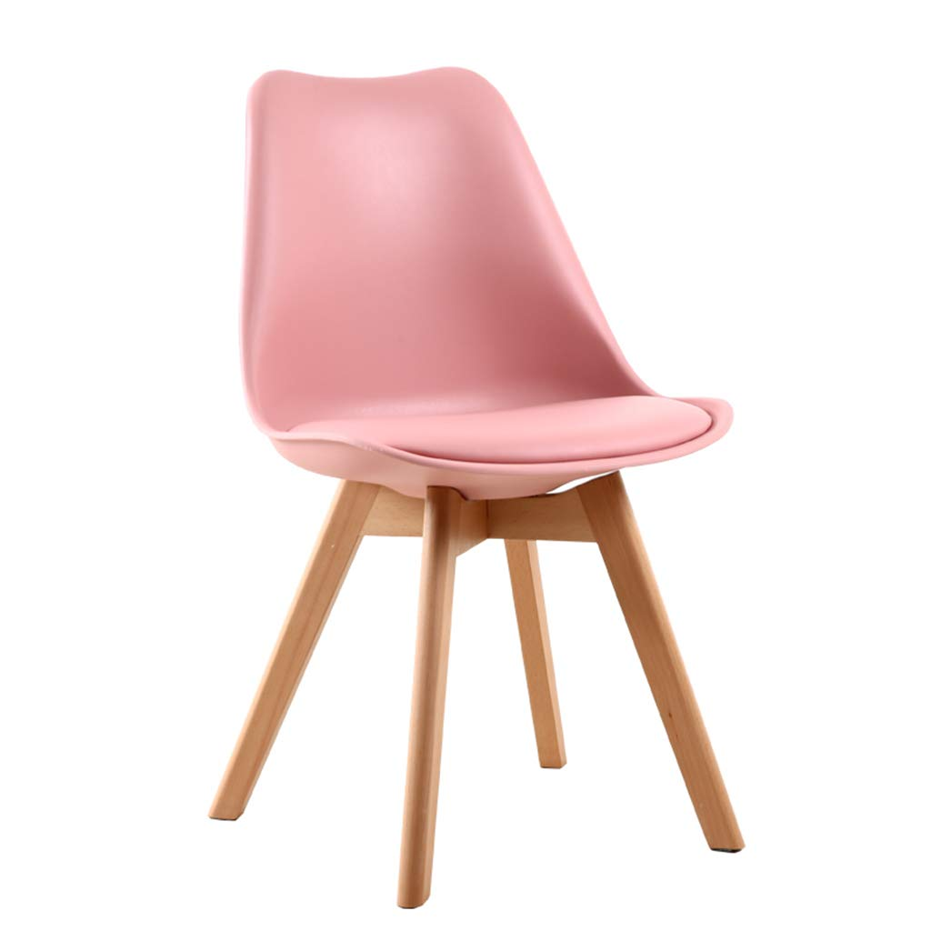 F Solid Wood Chair,Nordic Minimalist Style PU Cushion Stools, Combination Assembly Negotiation Dining   Leisure Chair,Sitting Height  46Cm,A