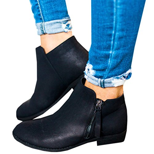 Boots for Women Ankle Winter Low Heel Western Side Zipper Pointed Toe Solid Color Black