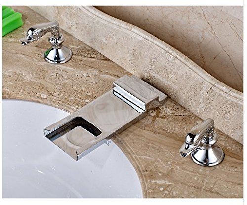 Gowe Deck Mounted Bathroom Sink Faucet Double Handles Widespread 3pcs Mixer Tap Chrome Fonished 4