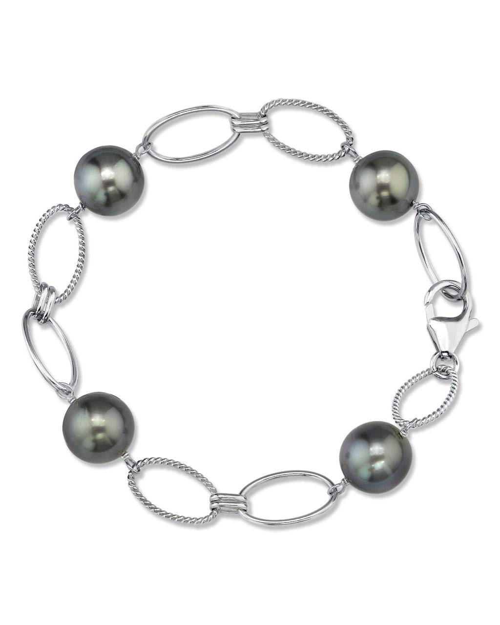THE PEARL SOURCE Sterling Silver 10-11mm Round Genuine Black Tahitian South Sea Cultured Pearl Bracelet for Women