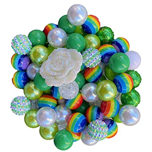 20mm Holiday Themed 50 Count with Bow Pendant Chunky Bubble Gum Acrylic Beads Bulk Wholesale Pack Necklace Kit (St. Patricks Day)