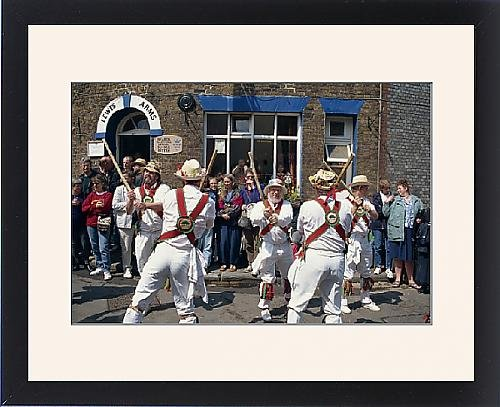 Framed Print of Chanctonbury ring of Morris dancers outside the Lewes Arms pub, Lewes, Sussex (Morris Dancers Costumes)