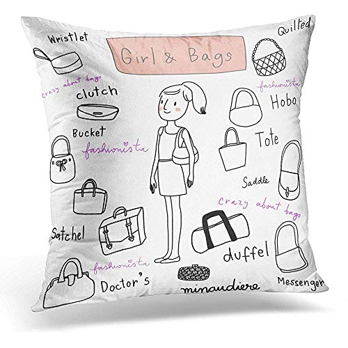 Throw Pillow Covers Vintage Cute Girl with Various Bags of Such As Duffel Clutch Saddle Satchel Tote Hobo Messenger Handbag Decorative Pillows case 18 x 18 Inches Home Decor sofa Cushion cover