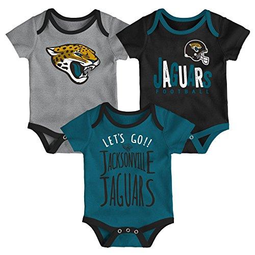 Jacksonville Jags Apparel - NFL by Outerstuff NFL Jacksonville Jaguars Newborn & Infant Little Tailgater Short Sleeve Bodysuit Set Black, 0-3 Months