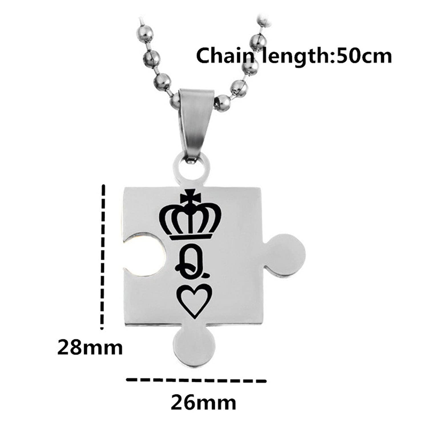 Image result for SL 2pcs Missing Puzzle Women Men Stainless Steel Beloved Romantic Personalized Promsied Necklace Statement Couple Pendant for Girlfriend,Boyfriend,Wife,Husband-Queen and King