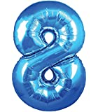"Large Blue Number 8 Foil Helium Balloon 30""/76.2cm (Not Inflated)"
