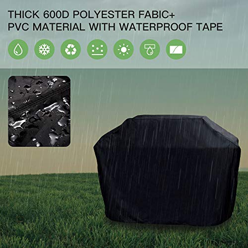 PAQCEN Grill Cover, 210D Heavy Duty Oxford Waterproof Gas Grill Cover with Double Stitching & Heat Sealed Seams 58-inch BBQ Cover with Storage Bag for Most Brands (Black)